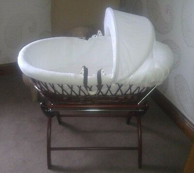Izziwotnot Dark Wicker Moses Basket and Stand - Very Good Condition