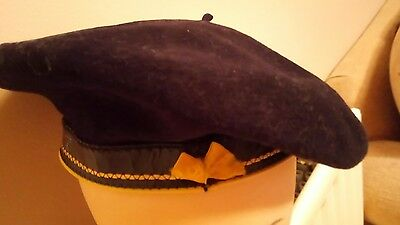 Vintage French Pure Wool Hat Boina Exposition. Black Beret. (9.5)