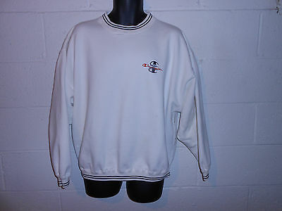 Vintage 90s White Champion Tri Logo Spell Out Sweatshirt XL