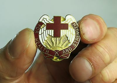 Red Cross Health and Strength Enamel Brass Pin