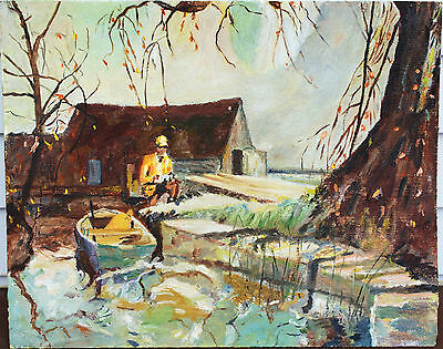 "Vintage Oil Painting On Board - Fisherman By Dock - Signed ""Amie Donnan"" - 1968"