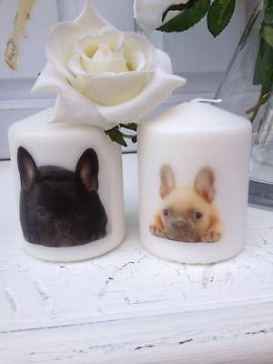 French Bulldog Candles Set of 2 UK Made Frenchie Dog Lovers Gift Memorial
