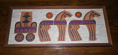 "Framed Hornsea Pottery Muramic Wall Plaque ""Horses and Chariot"" John Clappison."