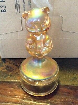 Fenton Glass Terry Crider Marigold Carnival Sitting Bear On A Font Signed