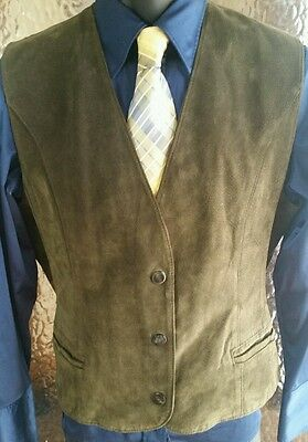 The Limited 100% Turtle Green Leather Vest Size M/L