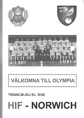 HELSINGBORGS IF (Sweden) v NORWICH CITY 99-00 Friendly Programme