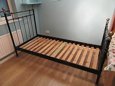 Single Ikea Black Metal Bed Frame with wooden slats (mattress NOT included)