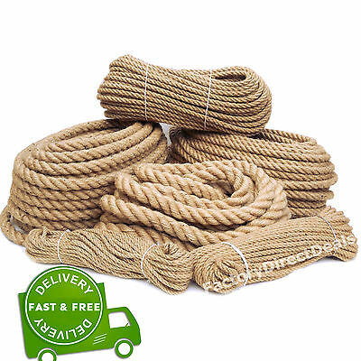 100% Pure Natural Hessian Jute Rope Cord Twine Braided Twisted Price Per Metre