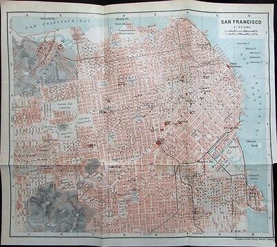 San Francisco Presidio California c. 1900 antique detailed color map city plan