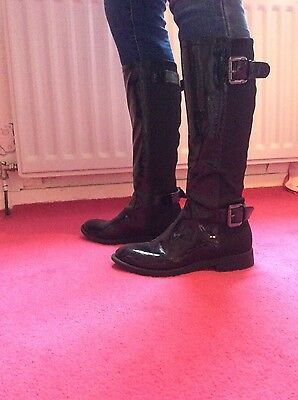 Girls / Ladies Black Faux Patent Boots Size 3 Hardly Worn