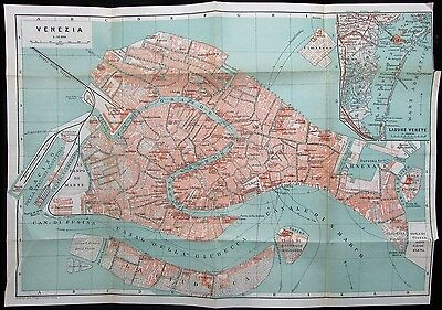 Venezia Venice Italy Italia w/ lagoon c. 1900 antique detailed city plan map