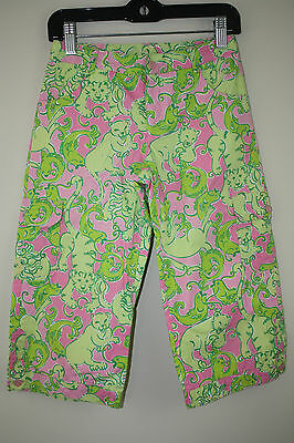 Lilly Pulitzer Girl's Pink Green Tiger Fish Pants Size 8