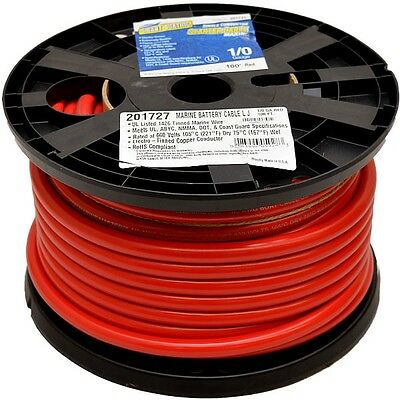 Smart Boating Starter Cable 3981328 | 1/0 Gauge 100 Foot Spool Red