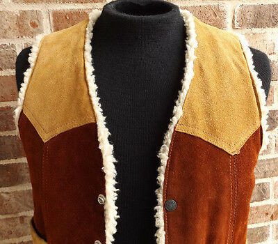 Vintage Suede Colorblock Sherpa Lined Western Leather Vest 70's Hipster