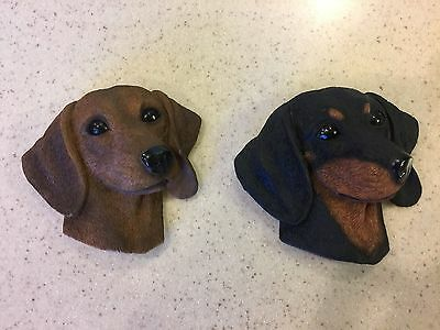 Dachshund Black & Tan and Red Dog Head Resin MAGNETS