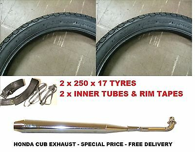HONDA CUB CHROME EXHAUST SILENCER + 2 x TYRES INNER TUBES RIM TAPES 250 x 17 New