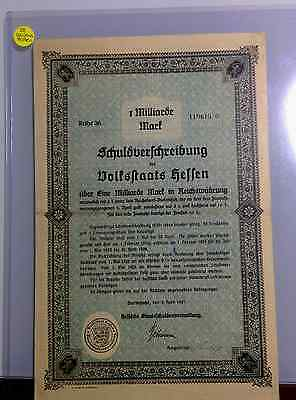 GERMANY State of Hessen Bond 1.000.000.000 Mark + coupons (1 milliarde)
