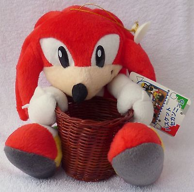 Official SEGA Japan 1996 UFO Sonic the Hedgehog Knuckles Basket Soft Plush Toy