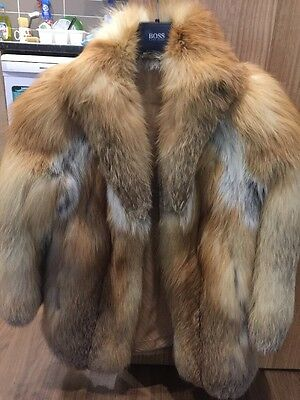 Beautiful Vintage Ginger Red Fox Fur Coat Jacket M Immaculate