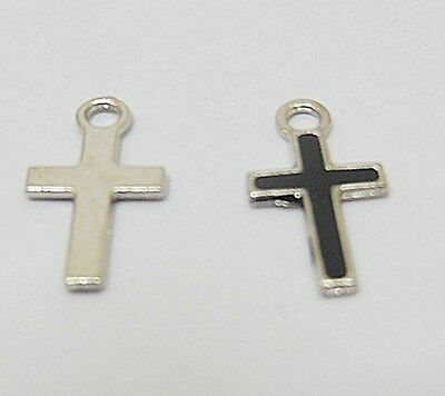 250Pcs Mini Black Charm Cross Bead Pendant 15x8x1mm