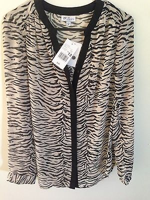 Womens Size 12 Long Sleeve Shirt Animal Print New With Tags