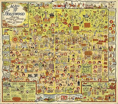 1928 Antique Map POSTER Hollywood California Harrison Godwin 10004000