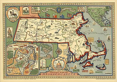 1930 Map POSTER landmarks roads major buildings Massachusetts 6864000