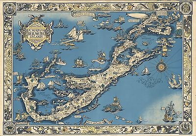1930 Antique Map POSTER Bermuda Islands Elizabeth Shurtleff 7862002