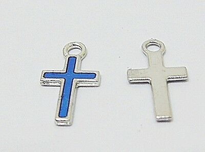 250Pcs Mini Blue Charm Cross Bead Pendant 15x8x1mm