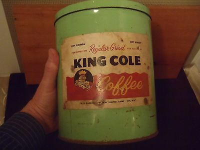 "vintage rare 5 lb King Cole  green coffee tin with lid 9"" X 7""G.E. Barbour"
