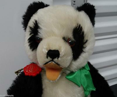 Hermann Mohair Panda Bear Open Mouth Fully Tagged Made In West Germany