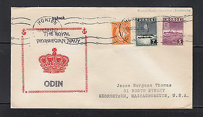 Norway 1950 cover Horten to USA, The Royal Norwegian Navy ODIN