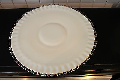 "Fenton Milk Glass Silver Crest Low Footed 15"" Round Platter"