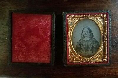 Ambrotype Tintype Photograph 1850's Woman in Leather Case