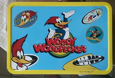 Extra-Large 1999 Frankford Woody Woodpecker Metal Popcorn Tin Lunch Box Yellow