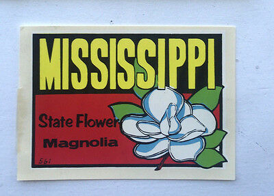 Vintage Mississippi State Flowers Magnolia Travel Water Window Decal Sticker