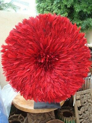 "32"" / Red / Bamileke / African Feather Headress / Juju Hat / ""Premium Quality"""