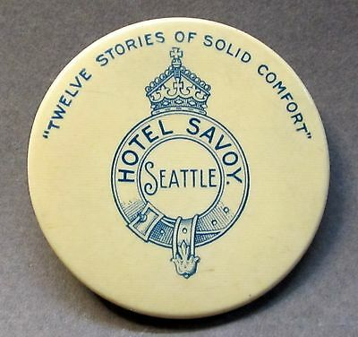 "circa 1905 HOTEL SAVOY SEATTLE ""Twelve Stories of Solid Comfort"" pocket mirror *"