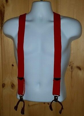 Red Suspenders with Leather Button Ends Adjustable Hunting Fishing Work Casual