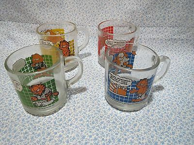 Vintage 1978 McDonalds Garfield Coffee Tea Glass Mugs Cups - Lot of 4