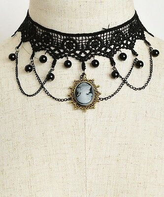 Women Fashion Jewelry Retro Vintage 90's Choker Cameo Crochet Punk Beads Goth