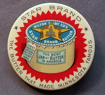 circa 1900 Milton Dairy's STAR BRAND BUTTER Minnesota celluloid pocket mirror *