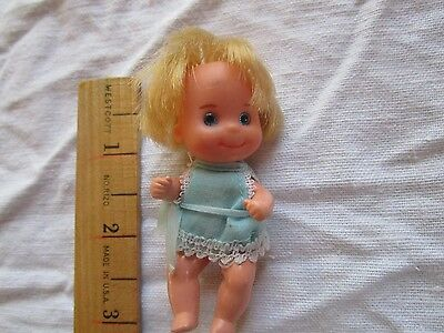 """1973 Mattel SUNSHINE FAMILY 3"""" BABY DOLL BLUE OUTFIT"""