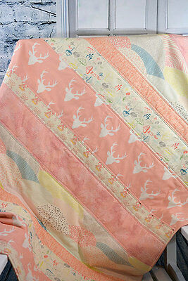 Handmade Baby Quilt, Woodland Baby Quilt, Pink Girl Quilt, Baby Crib Bedding