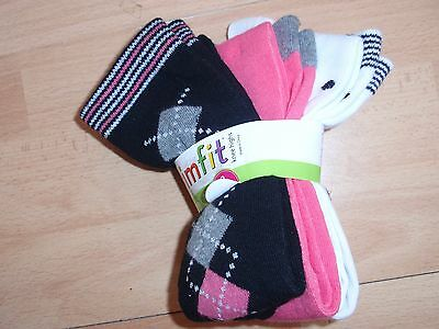 Nwt Girls Trimfit Sz S Knee High Socks 3 Pairs Fit Shoe Size 4-10 Youth