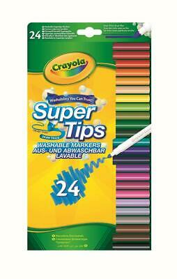 24 Crayola Supertips Bright Washable Lavable Markers Felt Tips Colour pens -24pk