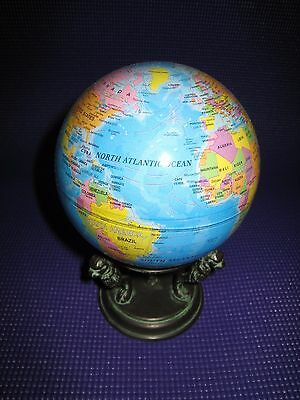 """Mova 4.5"""" Blue Color Political Map Rotating Motion Globe W/ Antique Stand"""