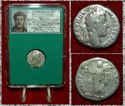 Ancient Roman Empire Coin Of COMMODUS Victory With Wreath Silver Denarius