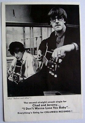 CHAD & JEREMY 1965 Poster Ad I DON'T WANNA LOSE YOU BABY