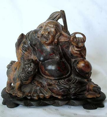 Vintage Carved Soapstone Figure Seated Buddha & Foo. W Case & Stand